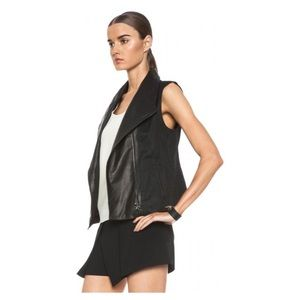 Vince linen and leather vest NEW W/O tag size s